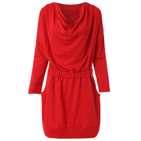 Simple Design Draped Collar Long Sleeve Solid Color Dress For Women