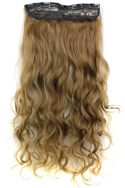 Fashion Mixed Color Long Curly Clip-In Heat Resistant Synthetic Hair Extension For Women
