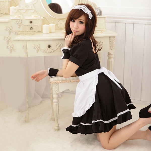 Stylish Scoop Collar Puff Sleeve Color Block Flounced Women's Cosplay Costume