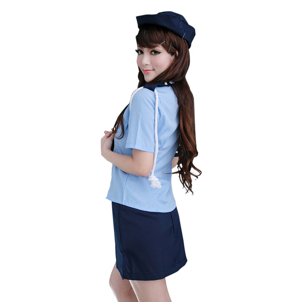 Sexy Shirt Collar Short Sleeve Blouse +Solid Color Wrapped Skirt Women's Cosplay Costume