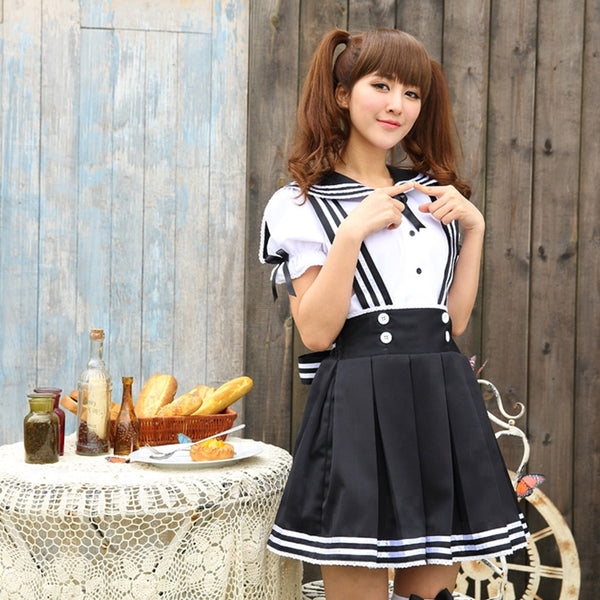 Sweet Peter Pan Collar Puff Sleeve Blouse + A-Line Pleated Suspender Skirt Women's Cosplay Costume