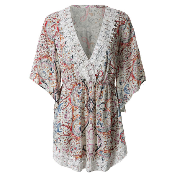 Bohemian 3/4 Sleeve Plunging Neck Printed Laciness Women's Dress