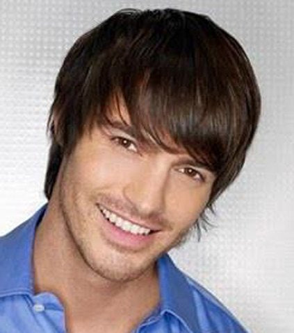 Brown Mixed Black Side Bang Short Masculine Capless Straight Heat Resistant Synthetic Men's Wig