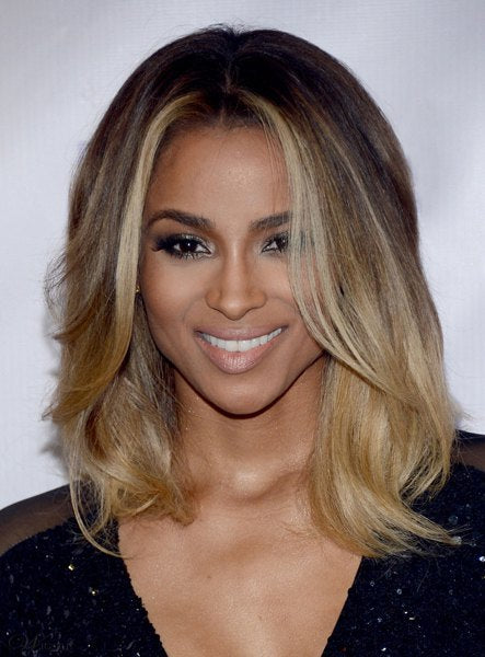 Graceful Brown Blonde Ombre Medium Synthetic Nobby Centre Parting Wavy Women's Wig