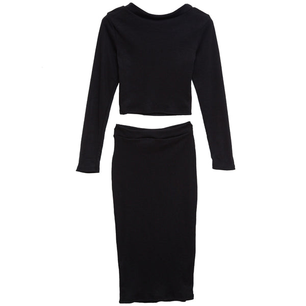 Elegant Round Neck Long Sleeve Knitted Sweater + Semi Long Tight Knit Skirt Suit