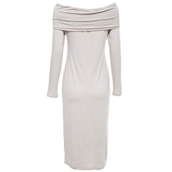 Sexy Off The Shoulder Long Sleeve Bodycon Pure Color Midi Dress for Women