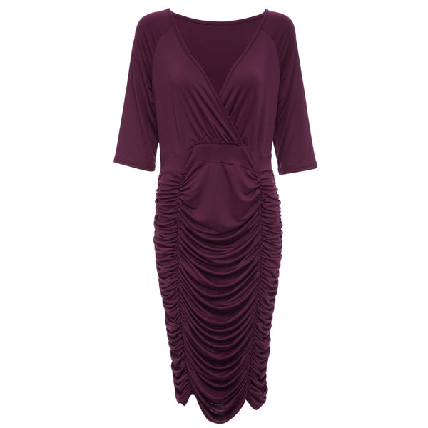 Women Stylish V-Neck Half Sleeve Solid Color Pleated Bodycon Midi Dress