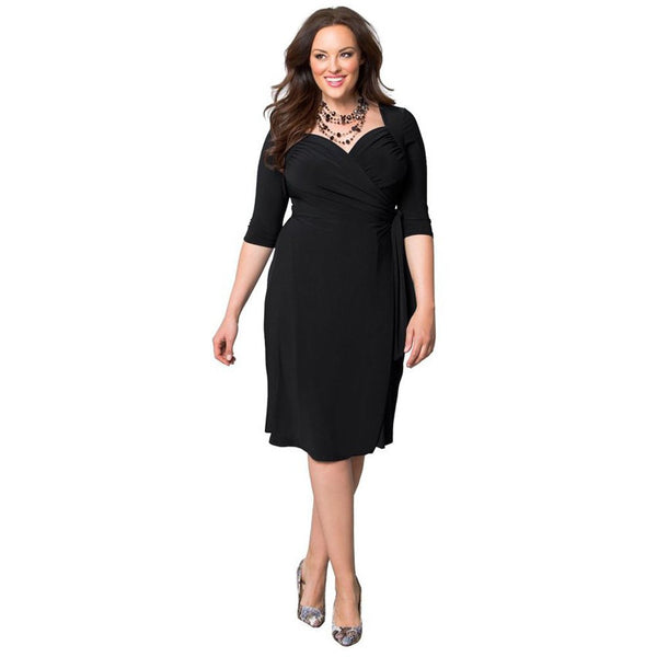 Casual V Neck Solid Color 3/4 Sleeve Plus Size Dress for Women