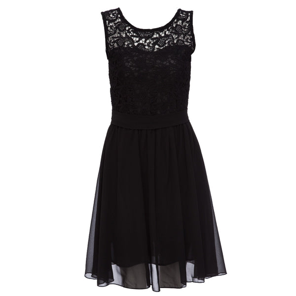 Girl Fashion Sexy Round Collar Sleeveless Belt Design Lace Chiffon Dress