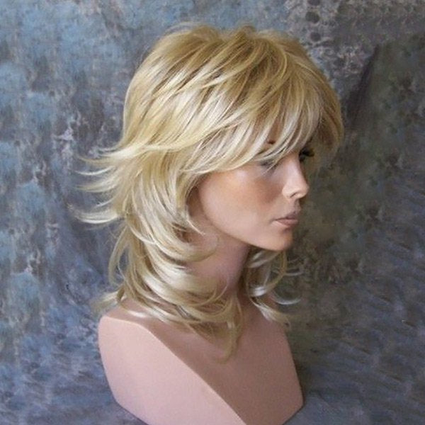 Inclined Bang Medium Tail Upwards Layered Slightly Curly Human Hair Wig