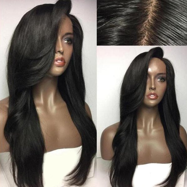 Long Deep Side Part Natural Straight Synthetic Wig