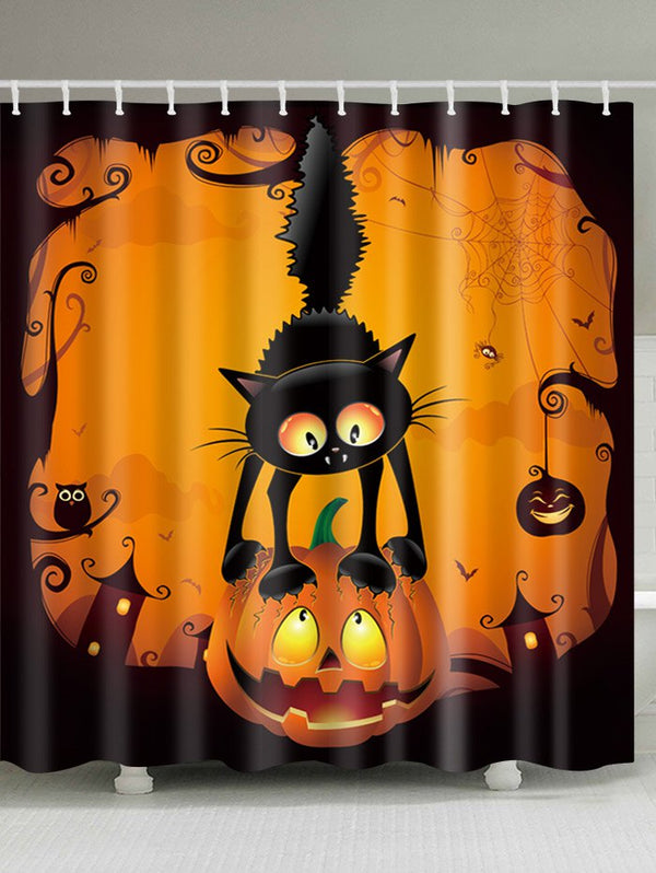 Halloween Pumpkin Cat Print Waterproof Fabric Shower Curtain