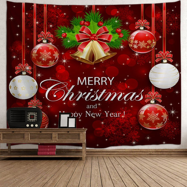 Wall Decor Merry Christmas Ball Bell Tapestry