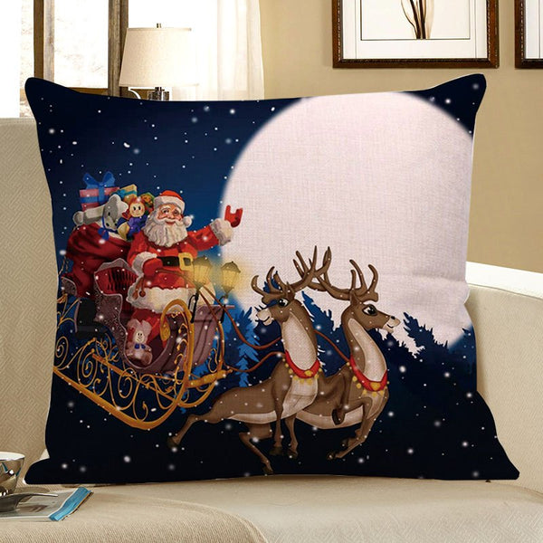 Father Christmas and Moon Printed Decorative Pillow Case