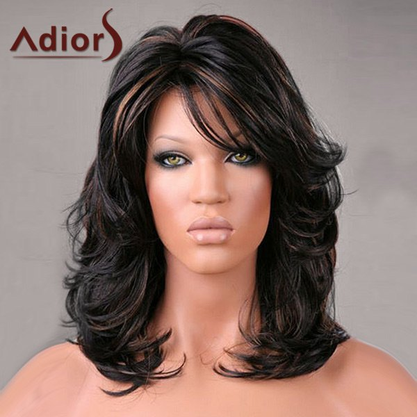 Adiors Medium Side Bang Highlight Shaggy Slightly Curled Synthetic Wig