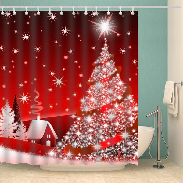 Christmas Tree Print Polyester Waterproof Bath Curtain