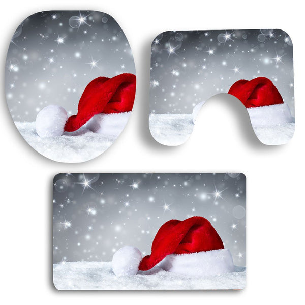 Snow Christmas Hat Pattern 3Pcs Bath Toilet Mat Set