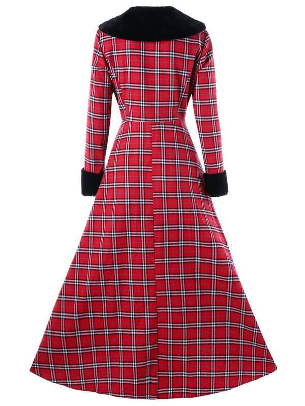 Plus Size Double Breasted Plaid Swing Coat