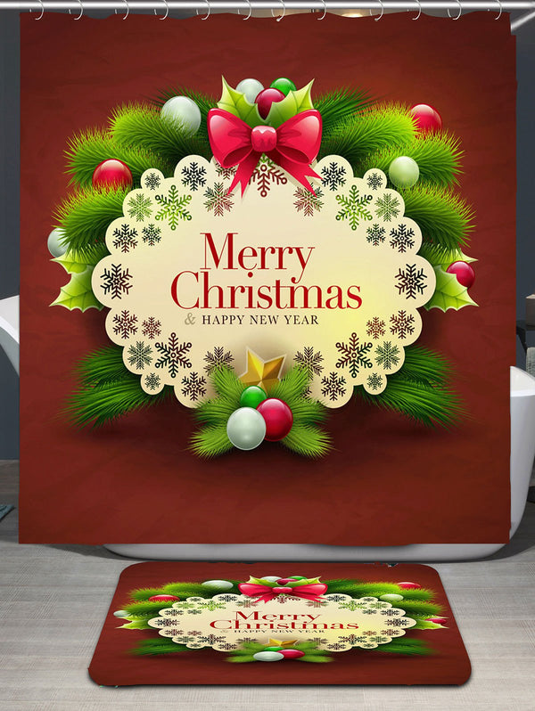 Merry Christmas Decorations Pattern Bath Curtain
