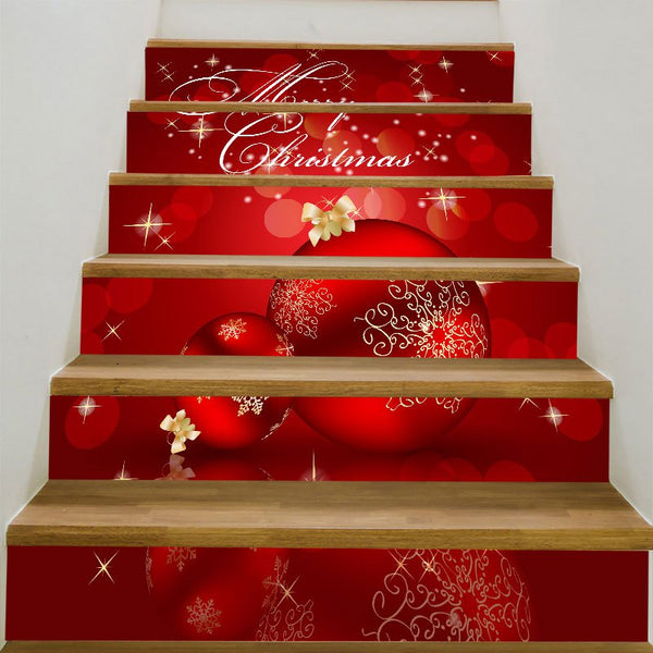 Christmas Ornaments Balls Patterned Stair Stickers