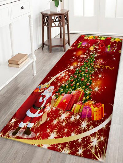 Christmas Tree Gift Santa Claus Print Flannel Skidproof Bath Mat