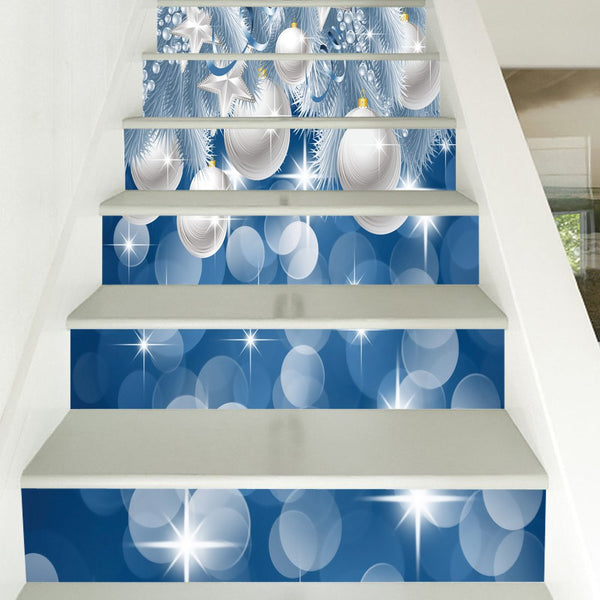 Christmas Hanging Balls Print Decorative DIY Stair Stickers