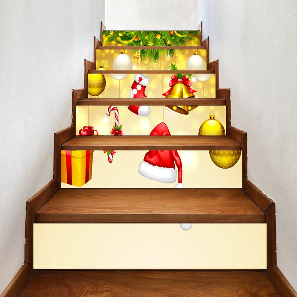 6 Pieces Christmas Hangings Print Home Stairs Stickers
