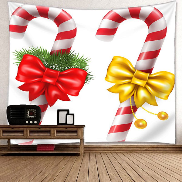 Christmas Candies Cane Pattern Wall Art Tapestry