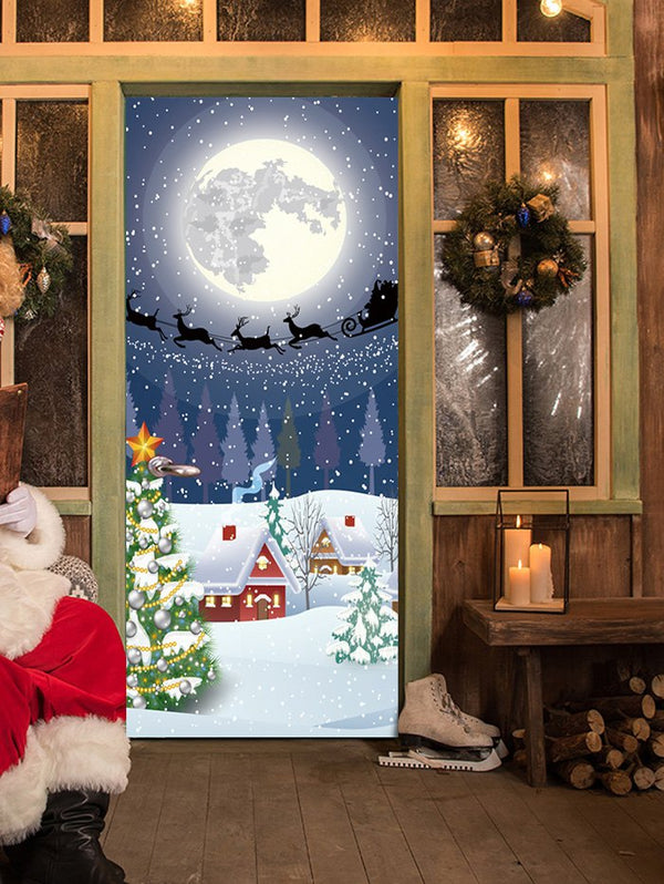 Moon Night Christmas Sled Pattern Door Art Stickers