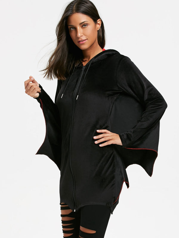 Bat Wing Wave Cut Halloween Zip Up Hoodie