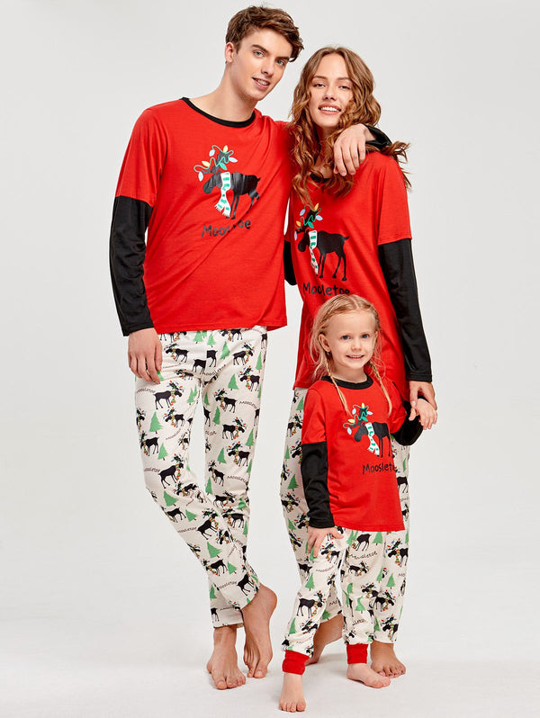 Long Sleeve Elk Print Matching Family Christmas Pajama