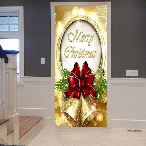 Merry Christmas Bells Pattern Door Art Stickers