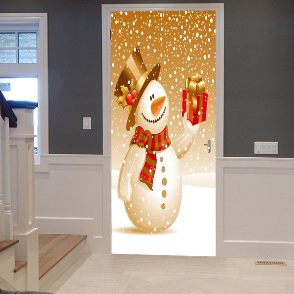 Christmas Snowman with Gift Pattern Door Art Stickers