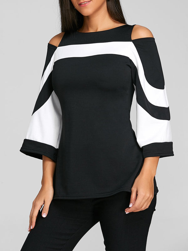 Flare Sleeve Cold Shoulder Two Tone Blouse