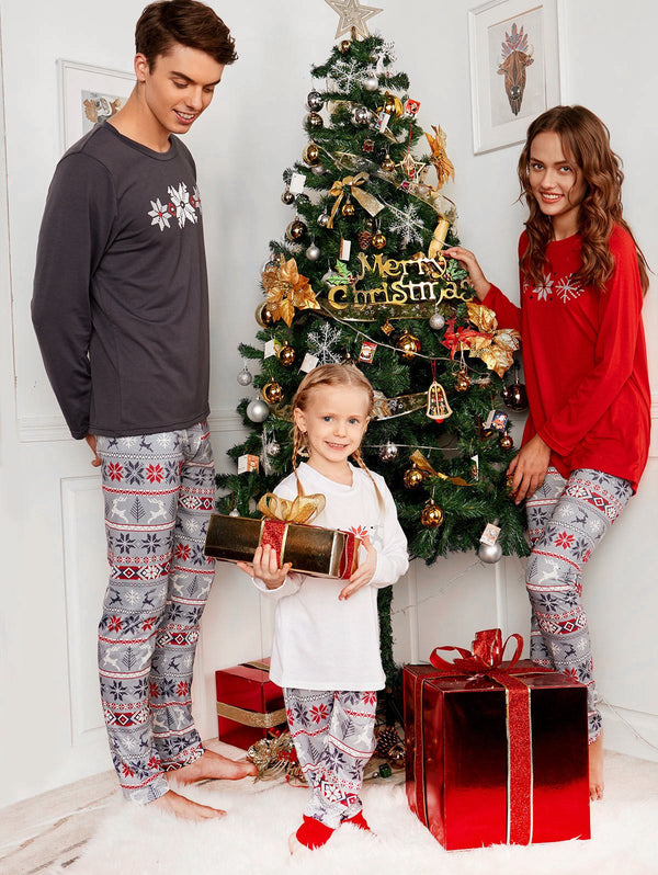 Long Sleeve Snowflake Print Matching Family Christmas Pajama