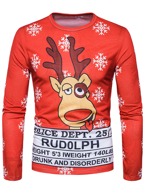 Crew Neck 3D Reindeer Graphic Print Christmas T-shirt