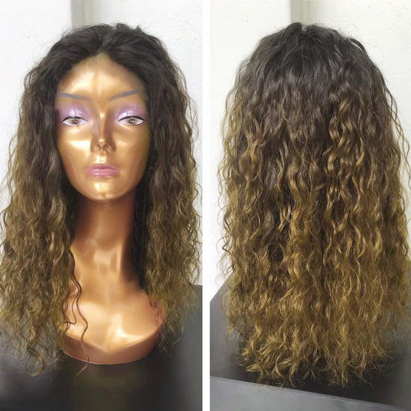 Long Center Parting Colormix Fluffy Natural Wavy Synthetic Wig