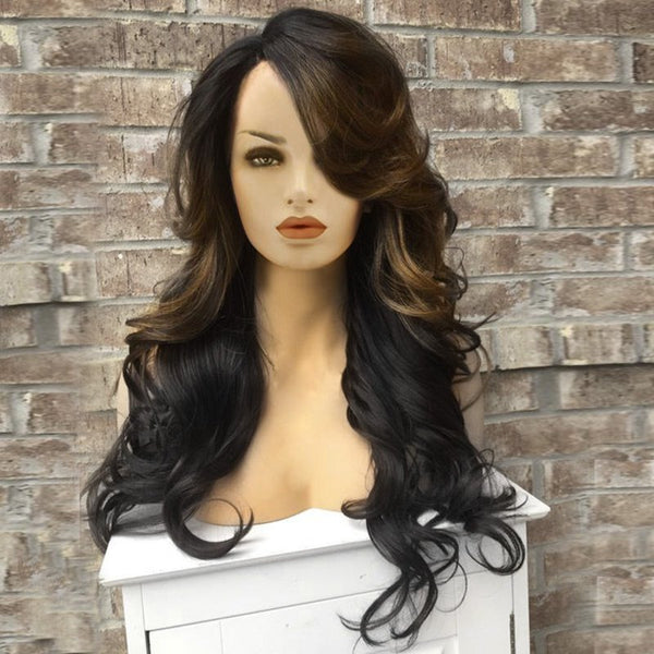 Long Side Parting Wavy Capless Colormix Synthetic Wig