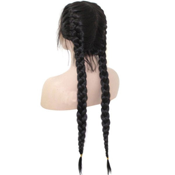 Long Center Parting Two Braids Lace Front Synthetic Wig