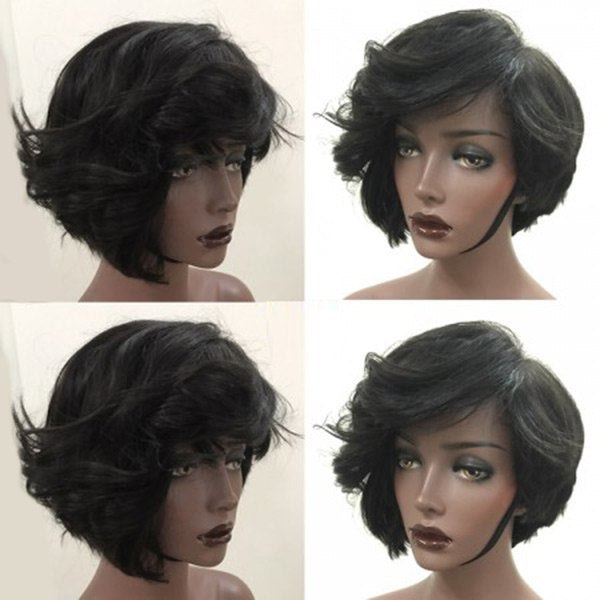 Short Oblique Bang Fluffy Slightly Curly Synthetic Wig