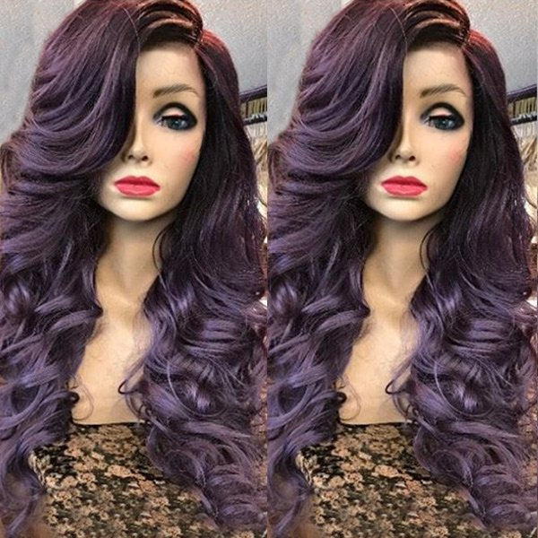 Long Deep Side Parting Wavy Curly Synthetic Wig