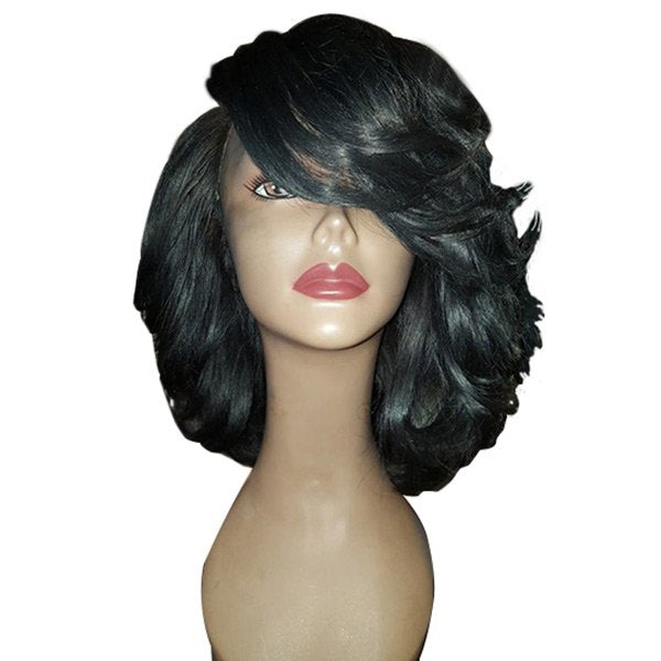 Medium Side Bang Wavy Synthetic Fiber Wig