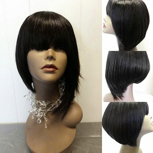 Short Full Bang Asymmetric Straight Synthetic Wig