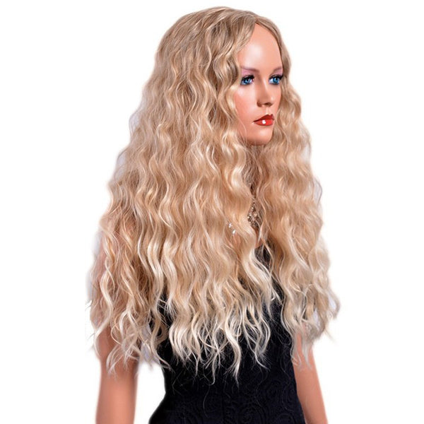 Fashion Long Curly Yellow Wigs for Women African Hairstyle Heat Resistant 24inch