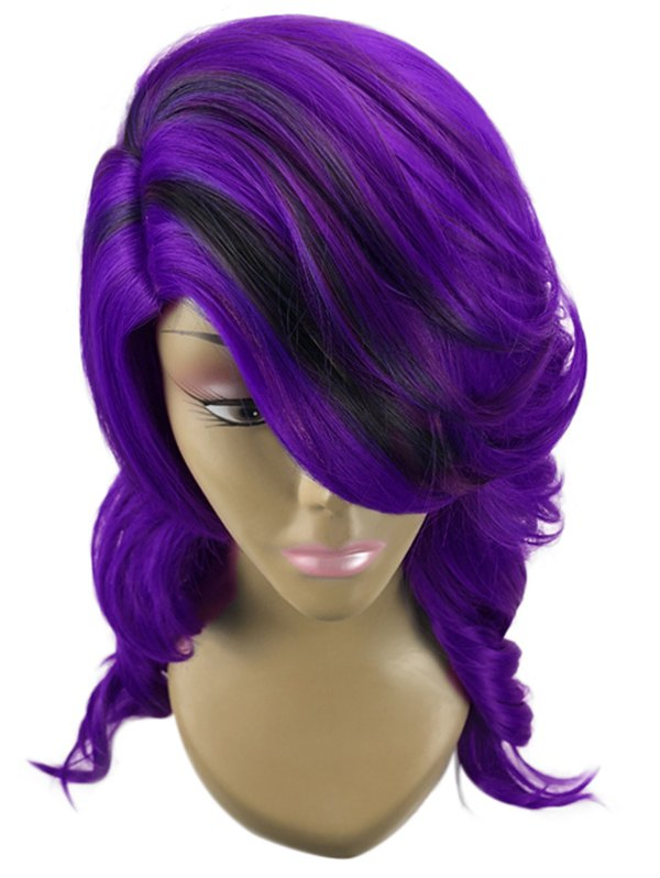 Long Side Part Wavy Colormix Synthetic Wig