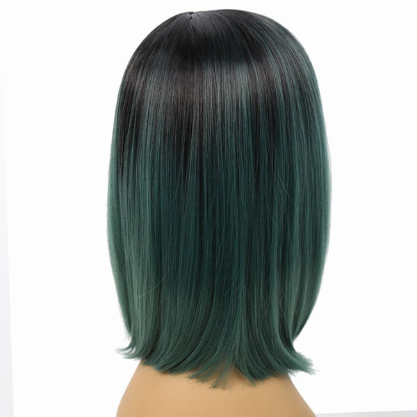 Fashion Long Straight Black to Green Wig for Women Cosplay Heat Resistant 12inch