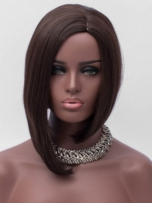 Medium Side Parting Asymmetric Straight Synthetic Wig