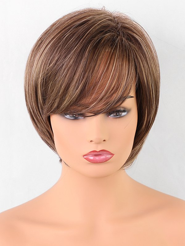 Oblique Bang Short Straight Colormix Synthetic Wig