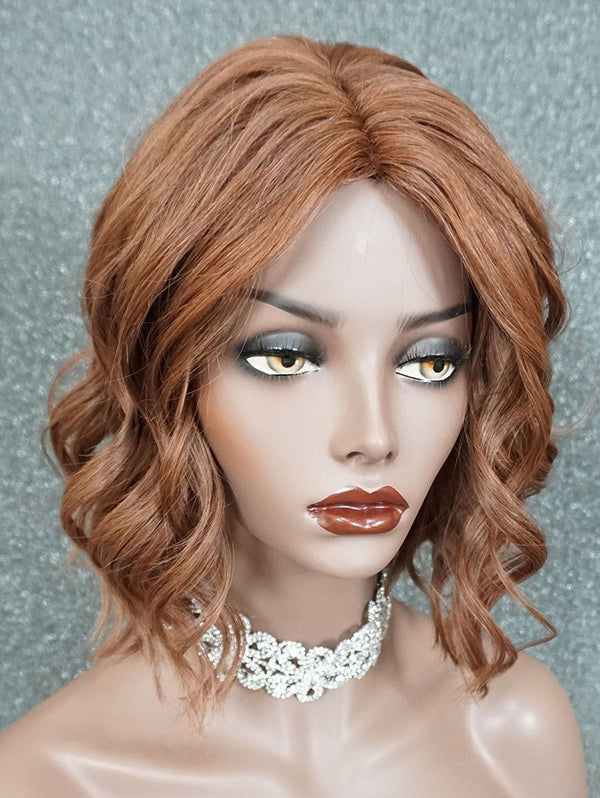Short Center Parting Wavy Human Hair Wig