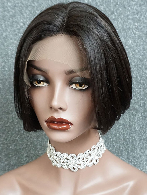 Center Parting Straight Short Bob Lace Front Human Hair Wig